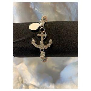 Rhinestone Anchor Beaded Bracelet
